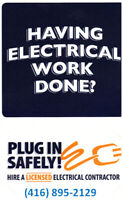 Licensed Electrician and Master Electrician 416-895-2129