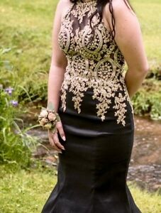 Black & gold prom dress