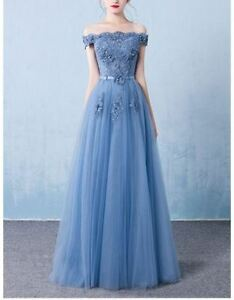 Off-Shoulder Embroidered Evening Gown / Prom Dress S/M