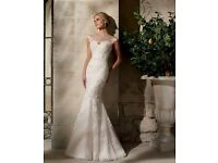 Mori Lee Wedding Dress 2702 Lace/Crystal Beading - Ivory/Silver - Size 12-14 - Excellent Condition