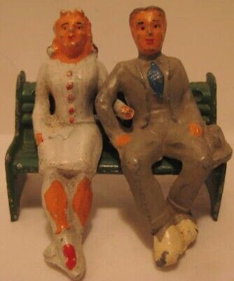 Lovely Old Miniature Bench Set - Couple for Garden Christmas or Train Layout