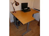 Computer Desk - Quality Ikea Corner Desk with Wooden Top and Steel Legs