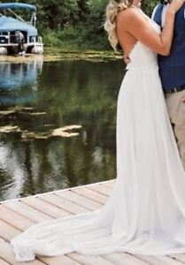 Halter style, lace and chiffon, two piece wedding dress!