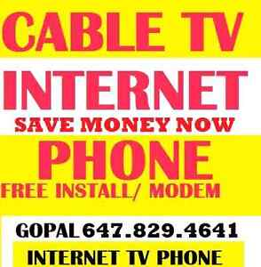 UNLIMITED INTERNET + CABLE TV + PHONE, INTERNET NO CONTRACT