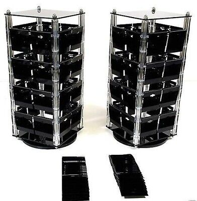 2 Pc Acrylic Rotating Earring Card Stand Displays Revolving Stand With 100 Cards