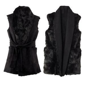 Faux Fur Vest - Black suede reversible