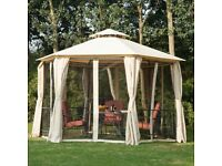 Outsunny 3m Hexagonal Gazebo Canopy Party Tent Garden Shelter 2 Tier Roof - Beige