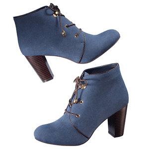 Blue lace up booties