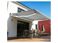 Awning Canopy Sun Shade Shelter Retractable - Grey 4m x 3m