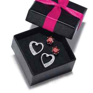 SWEET 2 PAIR EARRING SET - Red CZ & Hearts