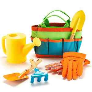 Child's gardening bag and tools