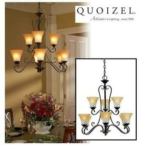 NEW QUOIZEL 9-LIGHT CHANDELIER DH5009PN 243522362 Duchess Champagne Marble Glass Palladian Bronze