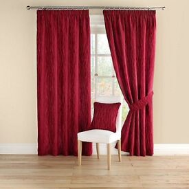 Montgomery - Red 'Meadow' pair of curtains with pencil heading