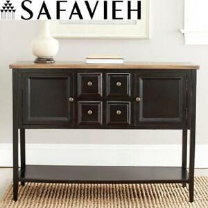 NEW SAFAVIEH BUFFET WITH STORAGE AMH6517D 244674335 BLACK AND OAK TABLE CHEST SEE COMMENTS