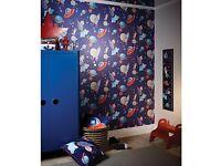 2x blue space / rocket rolls of wallpaper