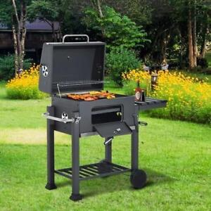 Bbq Charcoal Grill Trolley Smoker Camping Picnic Portable Backyard with Side Shelf / BBQ Grill