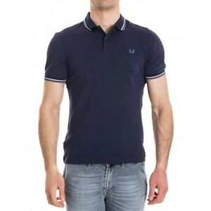 Fred Perry Polo pour homme Slim Fit Blue Carbon