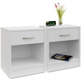 x2 White Bedside Tables