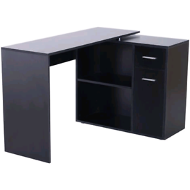 HOMCOM L-Shaped 360 corner computer rotating desk Black