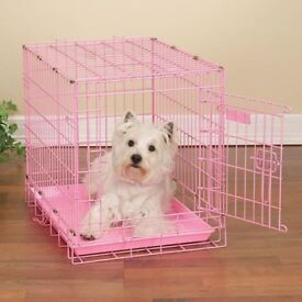 PINK DOG CRATE 18X24 GOOD CONDITION