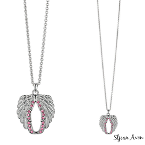Breast cancer - Silvertone angle wings