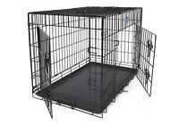 medium dog cage 30 inches long 2 doors fold down flat in vgc