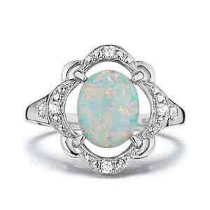 Sterling Silver Simulated Opal Rings