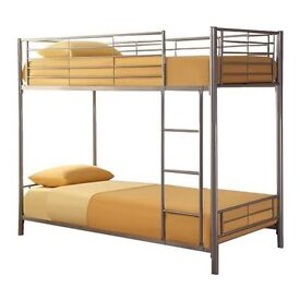 **14-DAY MONEY BACK GUARANTEE!**- Double Metal Bunk Bed with 9inch Sprung-Based Mattress