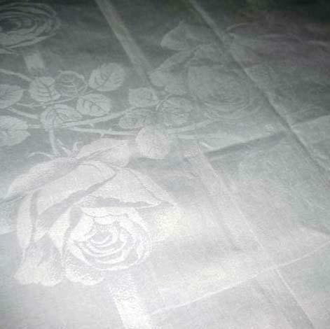 antique Edwardian IRISH LINEN TABLECLOTH Cabbage ROSES SPIRALS 72x69 Round Table