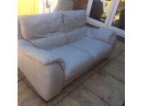 2 Seater Sofa Italian Leather Ivory