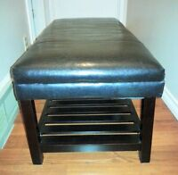 REDUCED! BLACK LEATHER BENCH/OTTOMAN WITH STORAGE