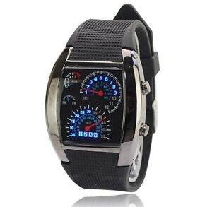 Blue LED Light Aviation Pilot Speedometer Dash Men's Binary Digital Wrist Watch