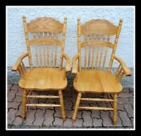 2 Oak Kitchen or Dining Room Arm Chairs