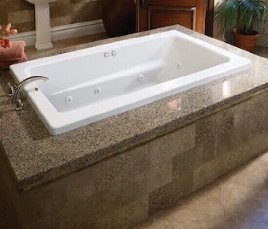Jacuzzi In-line Heat 42 x 72 White Reversible Drain Drop-In Whirlpool bathtub