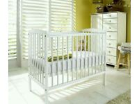 Kinder valley white Sydney cot. Brand new in sealed boxes. FREE mattress.