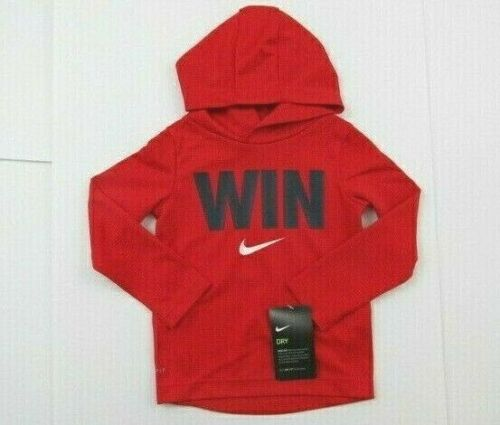 Nike Dri-Fit Thermal Boys Size 2T Hooded Long Sleeve Comfort Fit Red Pullover