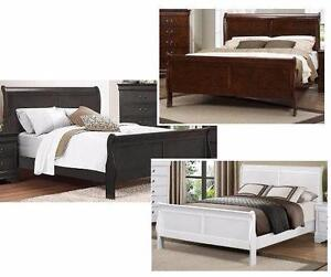 40% OFF -- LP BEDS IN WHITE, DARK CHERRY OR GREY.. IN HOUSE FINANCING AVAILABLE.  NO CREDIT CHECKS.  TWIN BED Regular $5