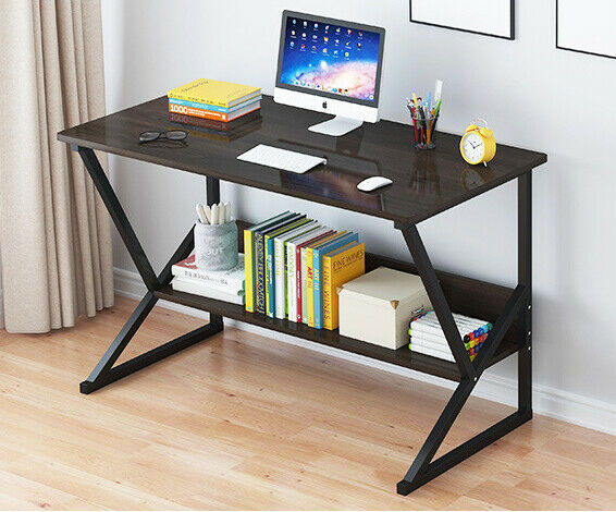 Computer Desk PC Laptop Table Study Workstation Wood Home Office Shelve Black