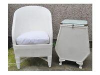 Vintage Lloyd Loom Chair & Small Ottoman Laundry Basket Cabinet