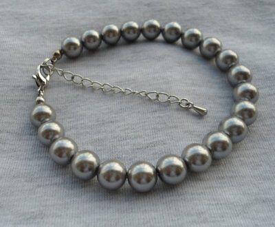 shell pearl bracelet, 8 mm Grau Muschelperle Armband