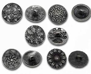 50 Mix Antik Silber Metall Knopf/Knöpfe 17mm-23mm Buttons Nähen Basteln