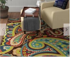 "For Sale is a Brand New ...Aria Rugs Veranda Collection 5' 2"" x 7' 6"" Paisley Rug in Multicolor..Indoor/outdoor"