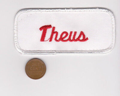 Rectangle Name Tags - THEUS Embroidered vtg Sew On Name Patch Tag-White Red-Rectangle