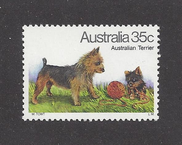 Art Full Body Portrait Postage Stamp AUSTRALIAN TERRIER DOG Australia 1980 MNH