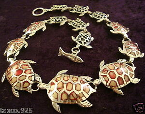 TAXCO-MEXICAN-STERLING-SILVER-CORAL-TURTLE-NECKLACE-MEXICO