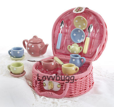 "Lovvbugg Kids Childs 17pc Multi Tea Set Pink Basket for 18"" American Girl Doll Accessory"