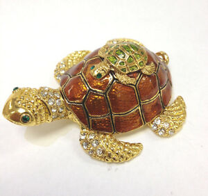 Cute Turtle Baby &  Mother Trinket Box / Austrian Crystals Jewelry box Nice Gift