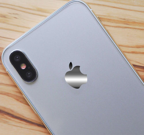 Chrome Mirror Silver Overlay for Apple iPhone 8 and 8 Plus Logo Vinyl Decal