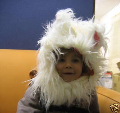Weiß Flauschig Kätzchen / Katze Hut und Schwanz Kostüm Alter 3-8