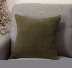 Plump Green Corduroy Square Cushion[37cmx37cm].